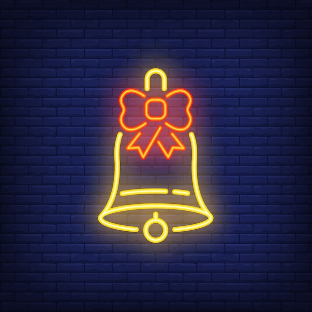 Neon christmas bell with bow. festive element. celebration concept Free Vector