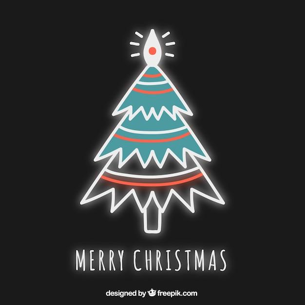Neon Christmas card vector Free Vector
