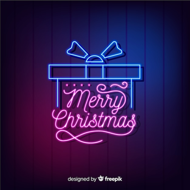 Neon christmas gift with lettering Free Vector