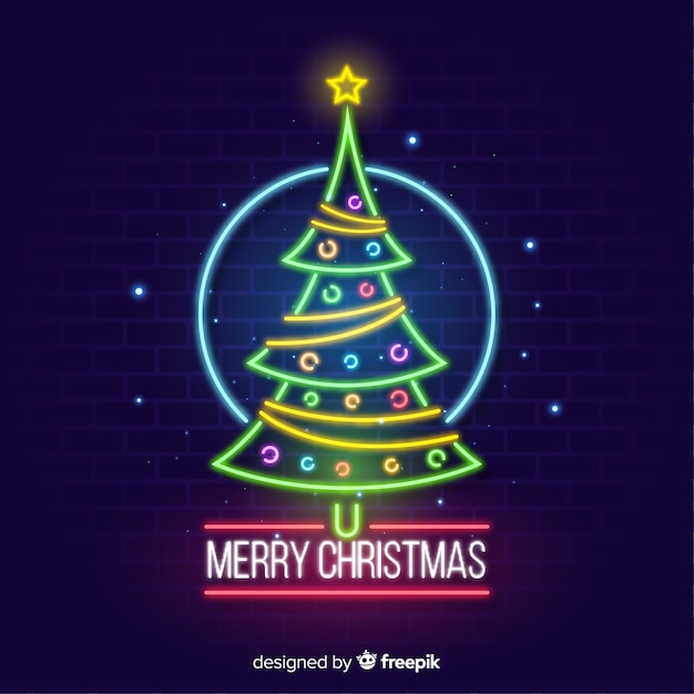 Neon christmas tree background Free Vector