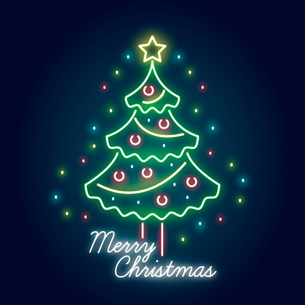 neon christmas tree background 23 2148355801