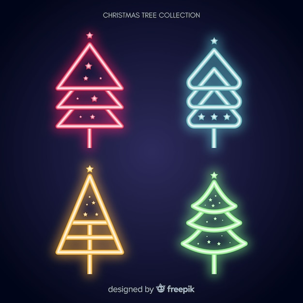 Neon christmas tree collection Free Vector