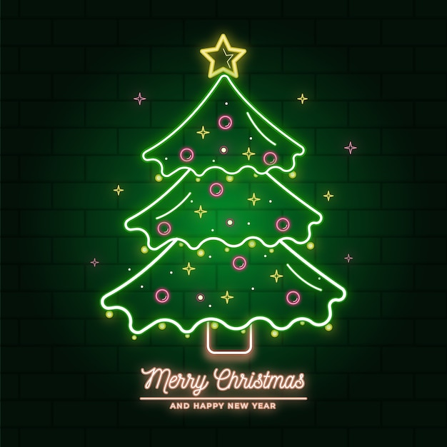 Neon christmas tree illustration Free Vector