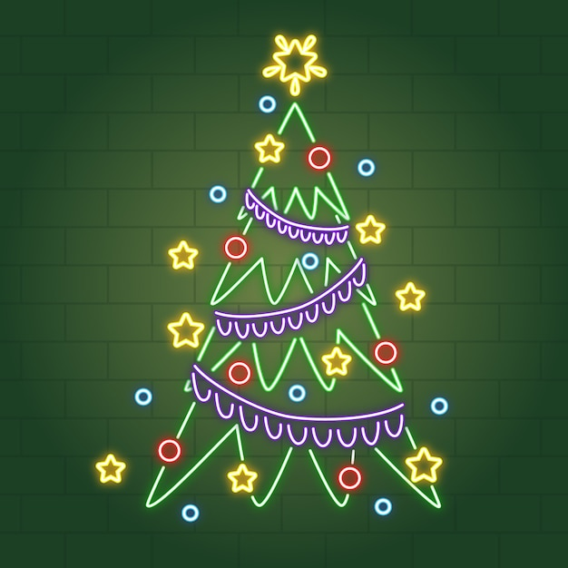 Неоновая новогодняя елка с елочными шарами и мишурой Бесплатные векторы