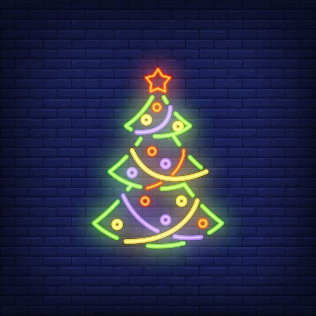 Neon christmas tree with ornaments. festive element. Free Vector