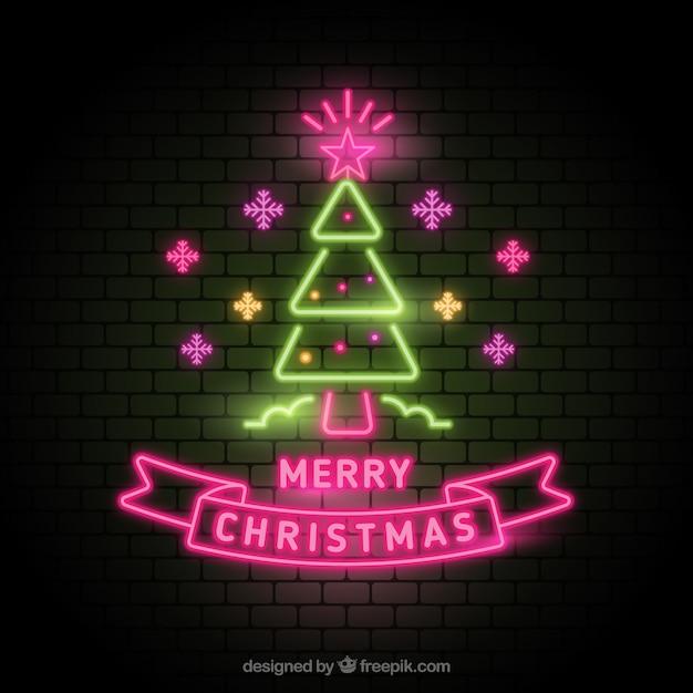 Neon christmas tree Free Vector