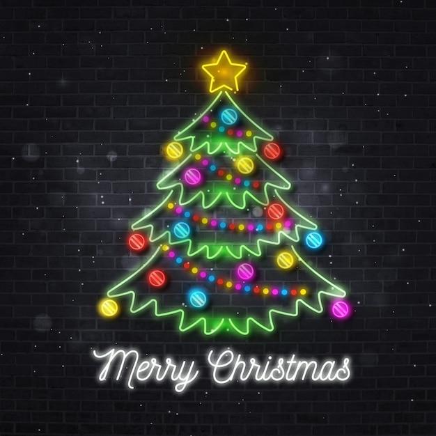 Neon christmas tree Vector | Free Download