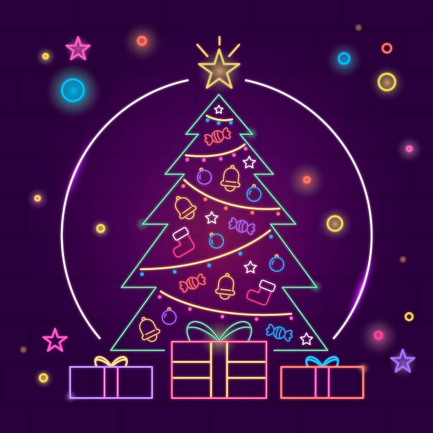 Neon christmas tree Free Vector