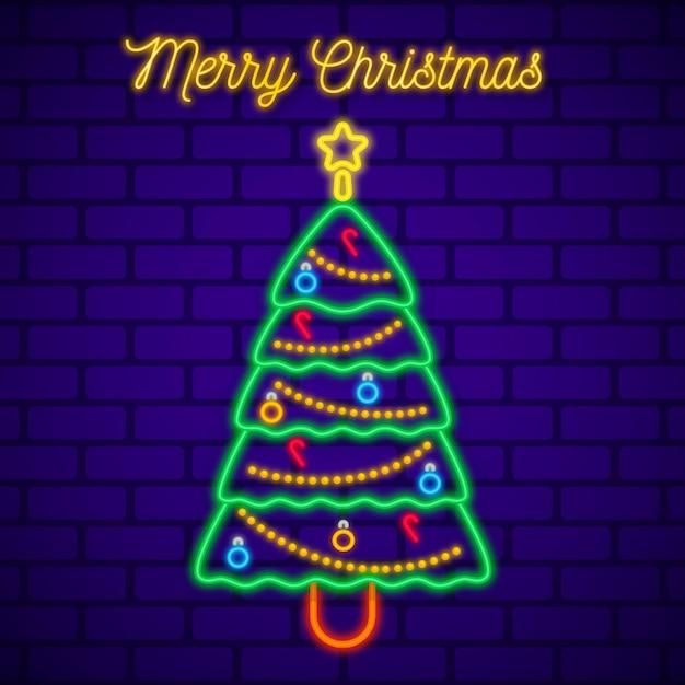ネオンクリスマスツリー 無料ベクター