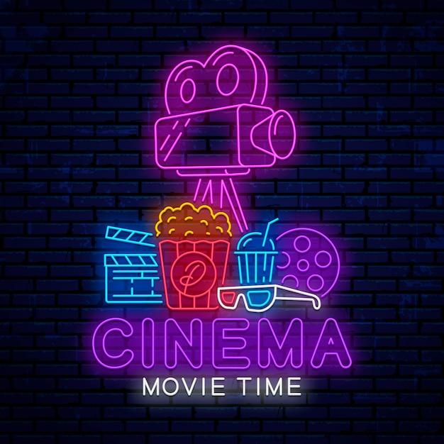 Neon cinema elements Premium Vector