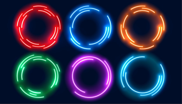 6色にセットされたネオンサークルフレーム 無料ベクター