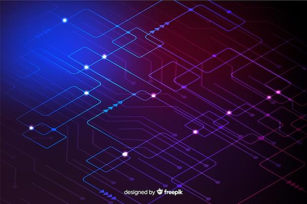 Neon circuit board wallpaper Free Vector