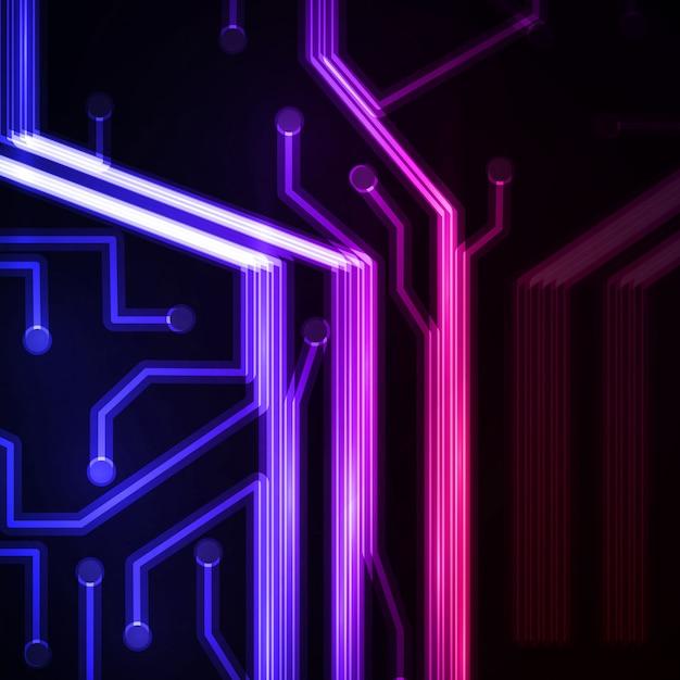Neon circuit board. Premium Vector