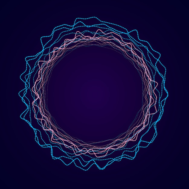 Neon circular shape of soundwave form. audio equalizer. Premium Vector