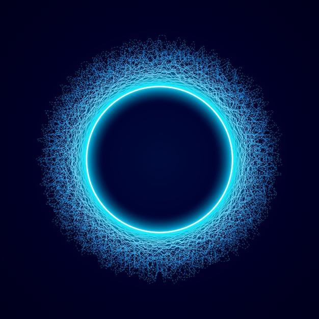 Neon circular shape of soundwave form Premium Vector