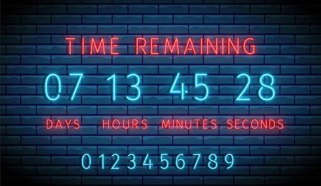 Neon clock counter. countdown timer.  illuminated digital count down. Premium Vector