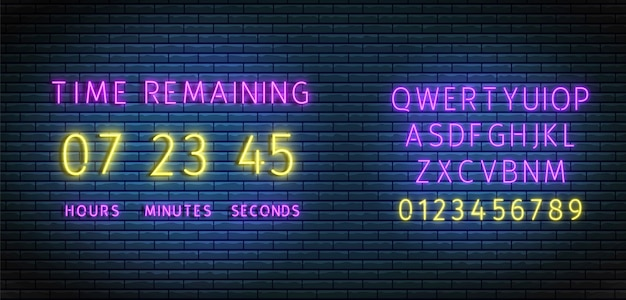 Neon clock counter. countdown timer wiht font. time remaining board. illuminated digital count down. Premium Vector