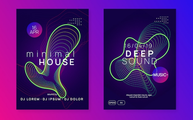 Neon club flyer. electro dance music. trance party dj. electronic sound fest. techno event poster. Premium Vector