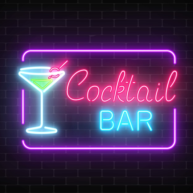 Neon cocktail bar and cafe glowing sign with geometrical frame on a brick wall . Premium Vector