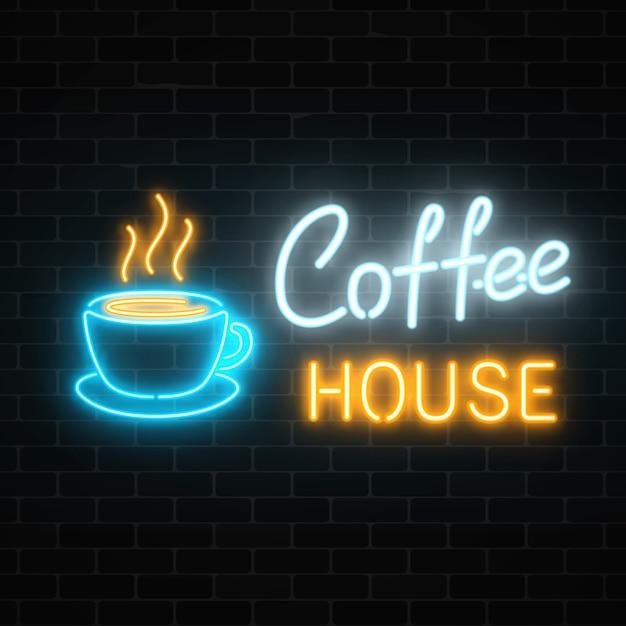 Neon coffee house signboard on a dark brick wall . hot drink and food cafe sign. Premium Vector