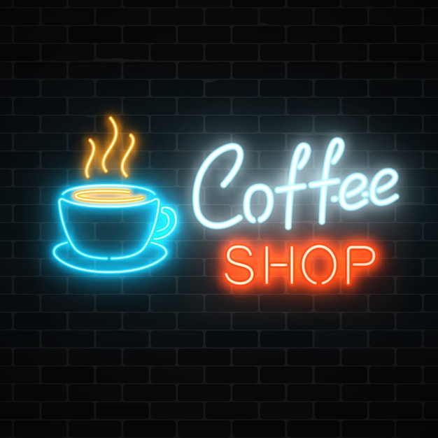 Neon coffee shop signboard on a dark brick wall . hot drink and food cafe sign. Premium Vector