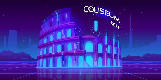 Neon coliseum on retro sci-fi glowing background Free Vector