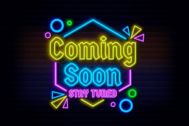 Neon coming soon background Free Vector