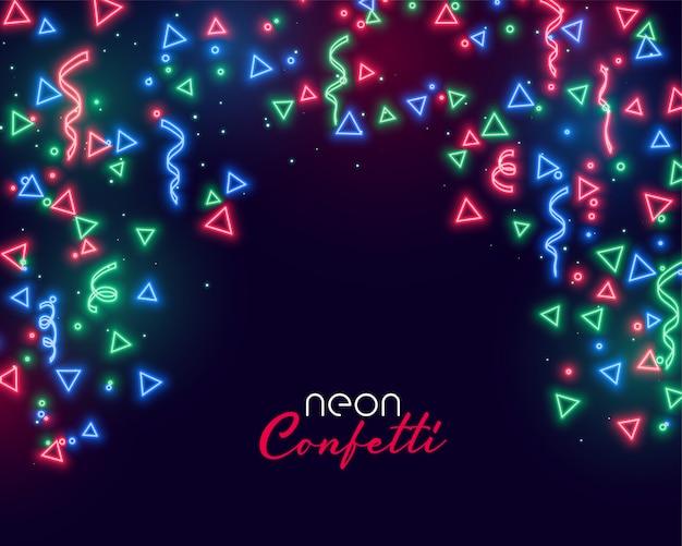 Neon confetti background Free Vector