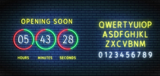Neon countdown timer. clock counter with font. opening soon board. . illuminated count down Premium Vector
