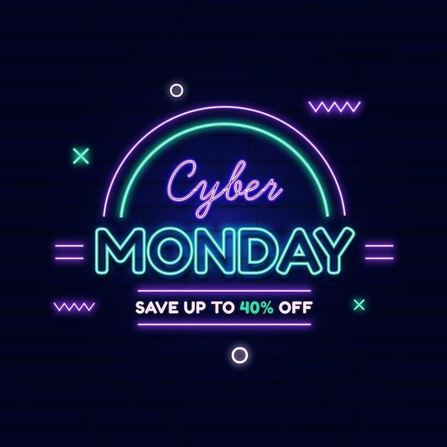 Banner di vendita al neon cyber lunedì Vettore gratuito