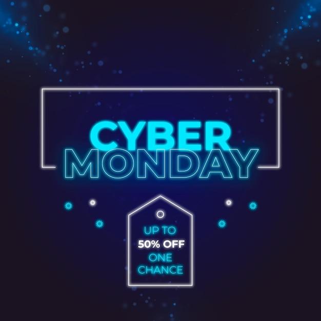 네온 사이버 월요일 판매 디자인 무료 벡터