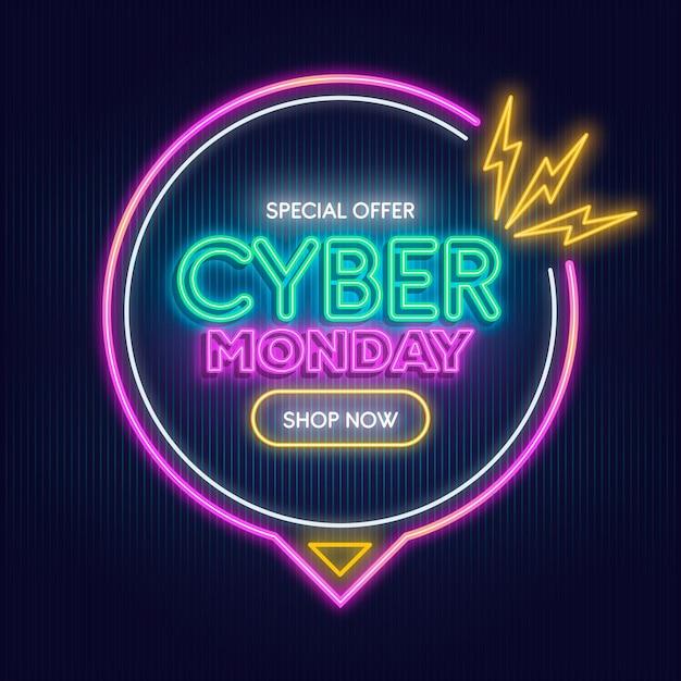 Testo al neon cyber lunedì Vettore gratuito
