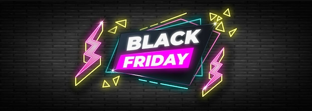 Neon design black friday banner template Free Vector