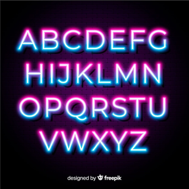 Neon duotone alphabet template Free Vector