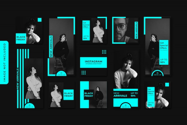 Premium Vector Neon Fashion Sale Instagram Stories And Feed Post Bundle Kit Banner Premium
