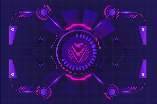 Neon fingerprint background Free Vector