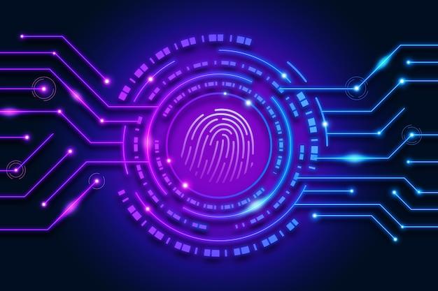 Neon fingerprint background Free Vector