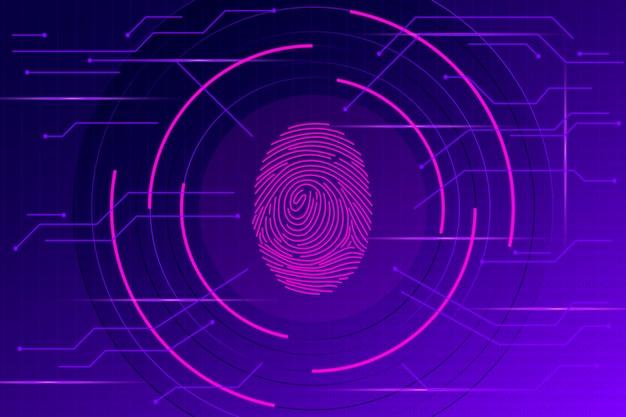 ネオン指紋の背景 Premiumベクター