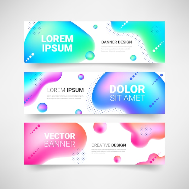 Premium Vector Neon Fluid Shapes Horizontal Banner Set Abstract Modern Liquid Color Background Colorful Gradient Geometric Design Elements Collection For Web Cover Flyer Header Page Ad Illustration