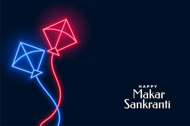 Neon flying kites for makar sankranti festival Free Vector