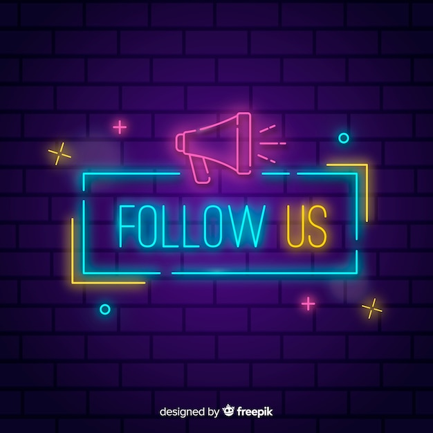 Neon follow us background Free Vector