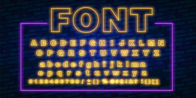 Neon font, 80s text letter glow light set  ultra violet