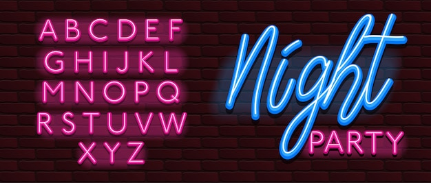 Neon font alphabet font bricks wall night party Premium Vector