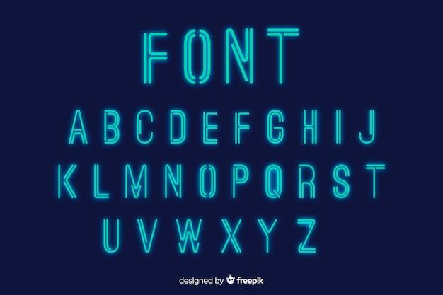 Neon font template flat design Free Vector