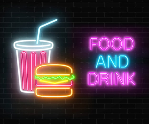 Neon food and drink glowing signboard on a dark brick wall . burger and plastic cup of beverage signs. Premium Vector