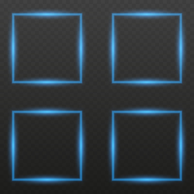 Neon frame with lights effects. glowing neon fire wave. shining rectangle banner.trend color Premium Vector