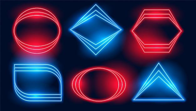 Cornici al neon in sei diverse forme geometriche Vettore gratuito