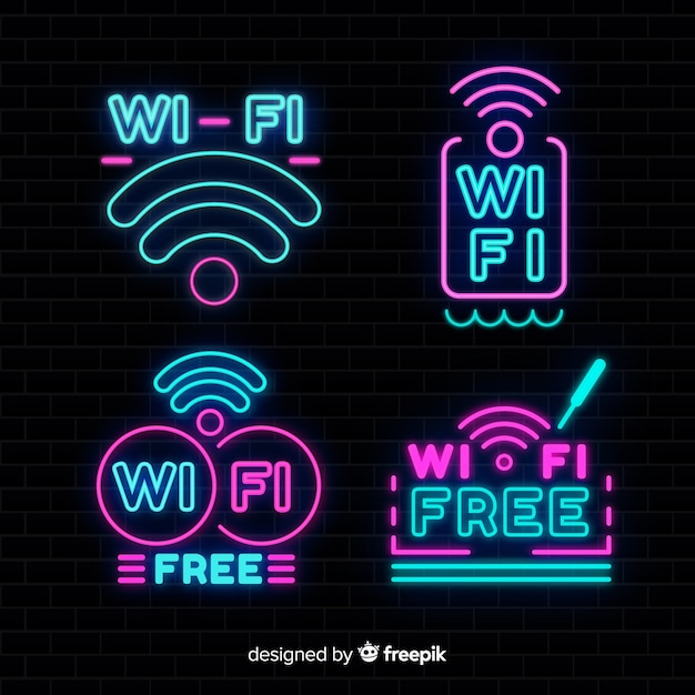 Neon free wifi sign collection Free Vector