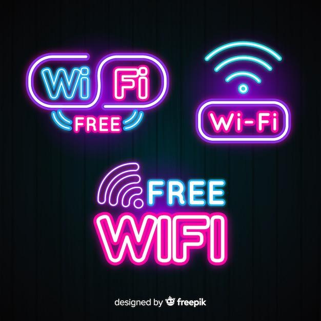 Неоновая коллекция wi-fi бесплатно Бесплатные векторы