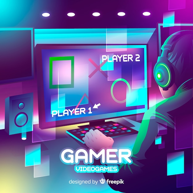 Neon gamer illustration flat design Free Vector